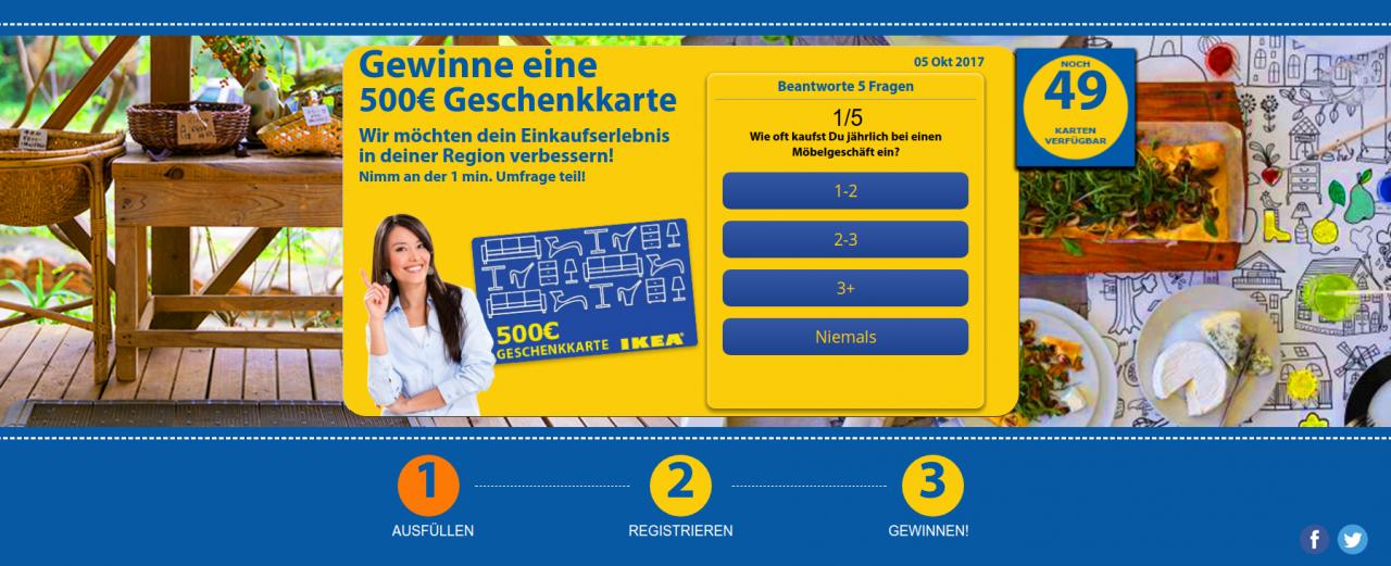 Screenshot: 500 Euro IKEA Einkaufsgutschein, Fake-Seite