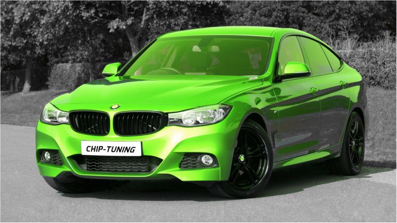 Getunter BMW in Neongrün